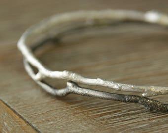 Twig Bracelet, Sterling Silver Bracelet Bangle Bracelet, handmade, gift for her, eco friendly, branch twig woodland, women