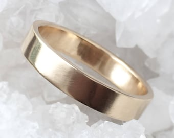 gold wedding ring, Solid 14k Yellow Gold wedding band, 4mm flat band, Shiny or Matte Finish, Eco Friendly Recycled Gold