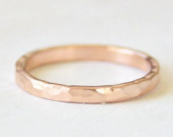 Rose gold wedding ring // 14k rose gold wedding band // hammered gold //  Flat band // eco friendly // recycled gold ring