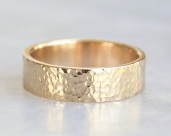Hammered Gold Wedding Ring // Micro Hammered Texture // 14k Yellow Gold Wedding Band // 6mm Mens Ring // eco friendly recycled gold