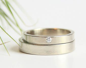 White Gold Wedding Ring Set, 14k Gold Rings, Eco Friendly Recycled Gold Rings, Matching Wedding Bands, conflict free diamond ring
