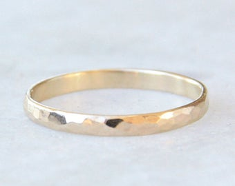 hammered gold ring, womens wedding band, hammered rounded 14k gold wedding ring, eco friendly recycled gold, stackable gold ring