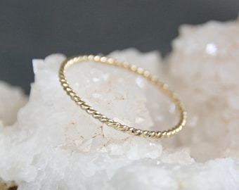 gold stacking ring //  twisted delicate Thin gold ring // One Ring // Eco Friendly Recycled Gold // gift for her
