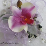 Prom / Homecoming / Wedding Silk Orchid Wrist Corsage on Fitz Design Bracelet