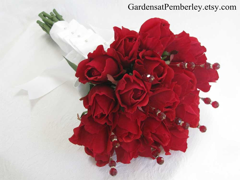 Red Rose And Crystal Bridal Bouquet