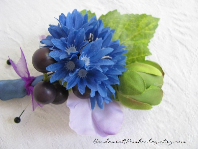 Wedding Flowers Bridal Flowers Prom Homecoming Blue Cornflower and Lavender Sweet Pea Silk Boutonniere