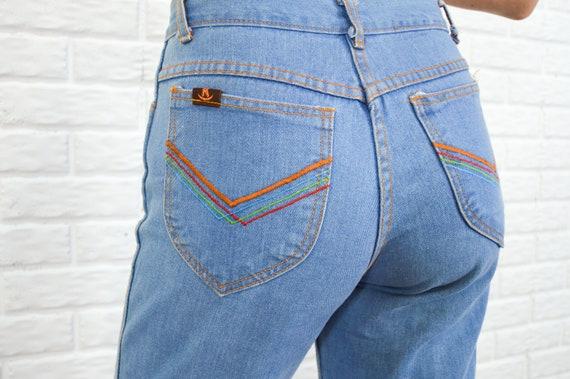 Rainbow Connection - boho hippie jeans - light blu