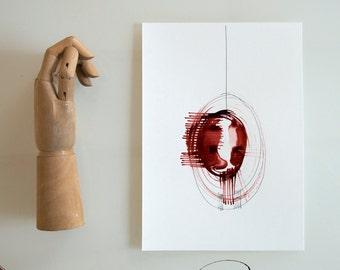 Circle art, minimal abstract ink art, abstract ink drawing, modern art, ink art, original abstract art, abstract art painting, minimalist