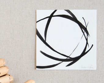 Circles ink art on paper I- Small art original drawing, tiny painting, abstract wall decor series circles, modern art, linear, geometric art