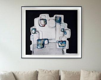 Large original horizontal abstract art painting, large abstract art, modern circles painting, stones painting, minimal large painting