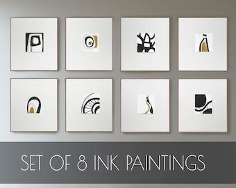Original Set of 8 abstract art, small abstracts, small paintings set,  ink painting, original abstracts set, set drawing, art set of 8