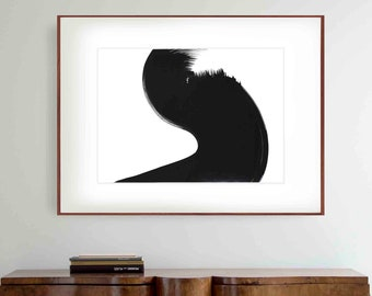 Original abstract art, black and white abstract art, minimalist ink art, option position painting, horizontal abstract wall art