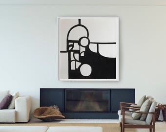 Extra large black and white abstract ink painting- Geometric, extra large wall art, minimalist art, large wall art decor, large abstract art