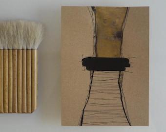 Original abstract art drawing, movement, tree abstract, abstract ink art on craft paper, abstract art, abstract ink painting
