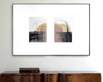 Set of 2 abstract ink painting, art, abstract set, minimal art, minimalist, modern art set, original art, 2 set, diptych art, stones set art