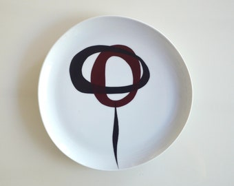 Porcelain plate, original abstract plate,abstract art on plate, minimal, modern plate, geometric, hand painted round plate,