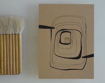 Original abstract art drawing, stones, circles abstract, black ink art on craft paper, modern abstract art, abstract art