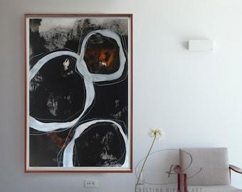 Extra large wall art, abstract painting, large abstract art, abstract ink painting, modern stones art, circles abstract art,