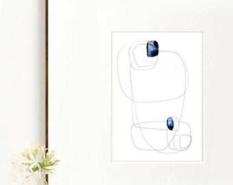 Blue drops- Minimal abstract glicee print, abstract art, modern art print, line art, wall art print, stones, zen art, minimalist art print