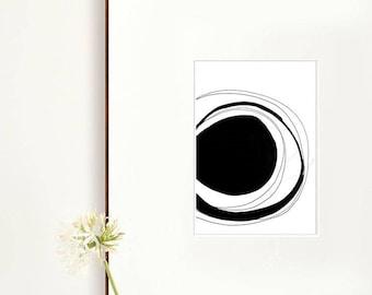 Abstract wall art print, modern circle print, abstract print, circles art print, prints, large print, digital print, glicee, black and white