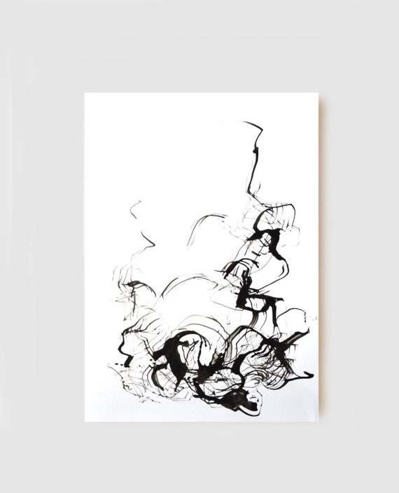 Original Abstract Art Ink Drawing Black And White Abstract Art Modern Minimal Ink Art Original Abstract Drawing Ink Art Original Art