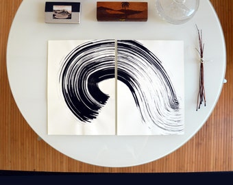 Original diptych abstract ink drawing, wave, black and white abstract art, abstract ink art, abstract, set of 2, abstract ink