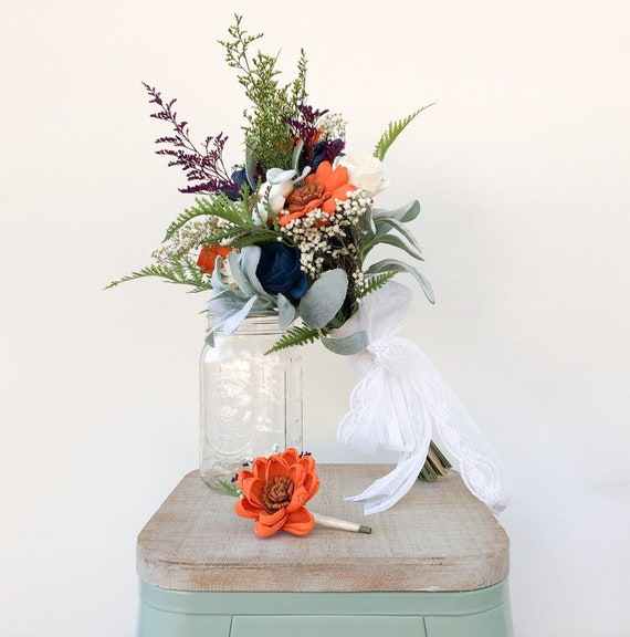 Wild Sunset Collection Wood Flower Bouquets Navy Blue Orange Etsy