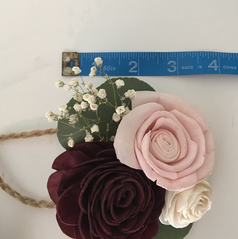 Wrist Corsage or Boutonni\u00e8re 3 Wood Flower Design Fall Bloom Collection