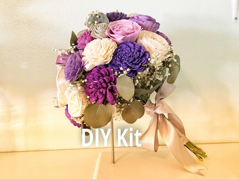 DIY Bouquet Kit multi purple bouquet with dried greenery Purple Spring Collection