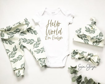 Baby girl coming home outfit, Modern baby girl outfit, Baby girl gift, Coming home outfit girl, Gender neutral coming home outfit