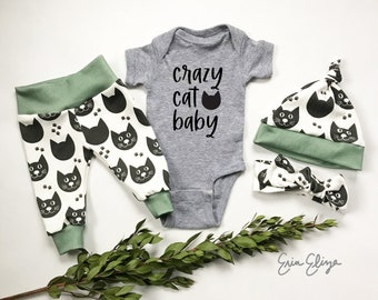 Crazy cat baby, Cat baby outfit, Cat baby pants, Coming home outfit cats, Baby boy cat clothing, Baby boy cat shirt