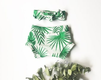 Tropical baby girl shorts, Summer coming home outfit, Tropical leaves baby girl shorts, Beach shorties baby girl, baby bloomers girl