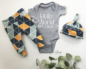 Baby Boy Coming Home Outfit, Baby Boy Gift, Newborn Boy Outfit, Gift for baby boy, Personalized gift for baby boy, Coming home baby boy
