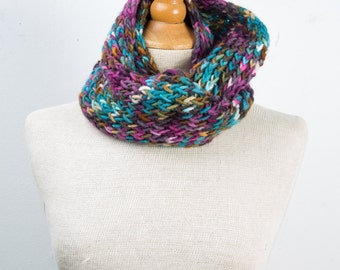 Hand knitted cowl, infinity scarf, knitting loom cowl, multi-color