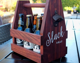 Wooden Beer Caddy, with ICE cooler. No nails, hardwood pegs, high quality finish...