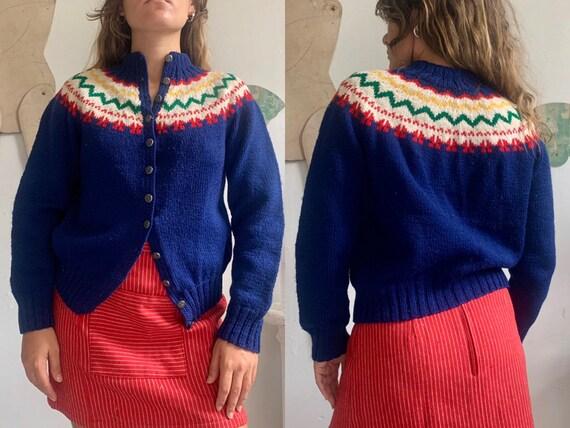 vintage 1950s nordic norwegian hand knit fair isle
