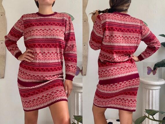 vintage 1980s fair isle intarsia body con knit swe
