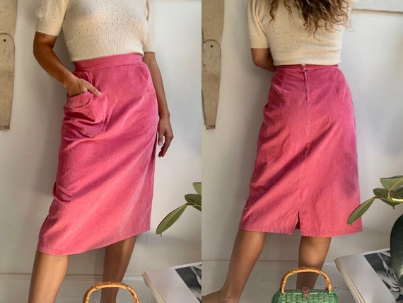 vintage 1940s 1950s hot pink corduroy pencil skirt