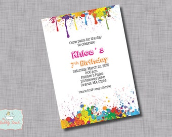 Paint Splatter Birthday Invitation
