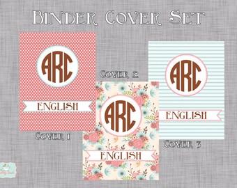 Vintage Floral Personalized Binder Cover Set- INSTANT DOWNLOAD- EDITABLE