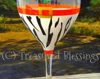Zebra Print Ho Ho Ho Christmas Wine Glass