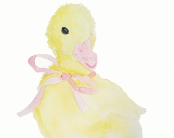 Print of the original watercolor painting 'Micheline the Duckling'