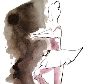 Print of the original watercolor painting 'Ballet Dancer'