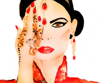Print of the original watercolor painting 'The girl with henna tattoo'
