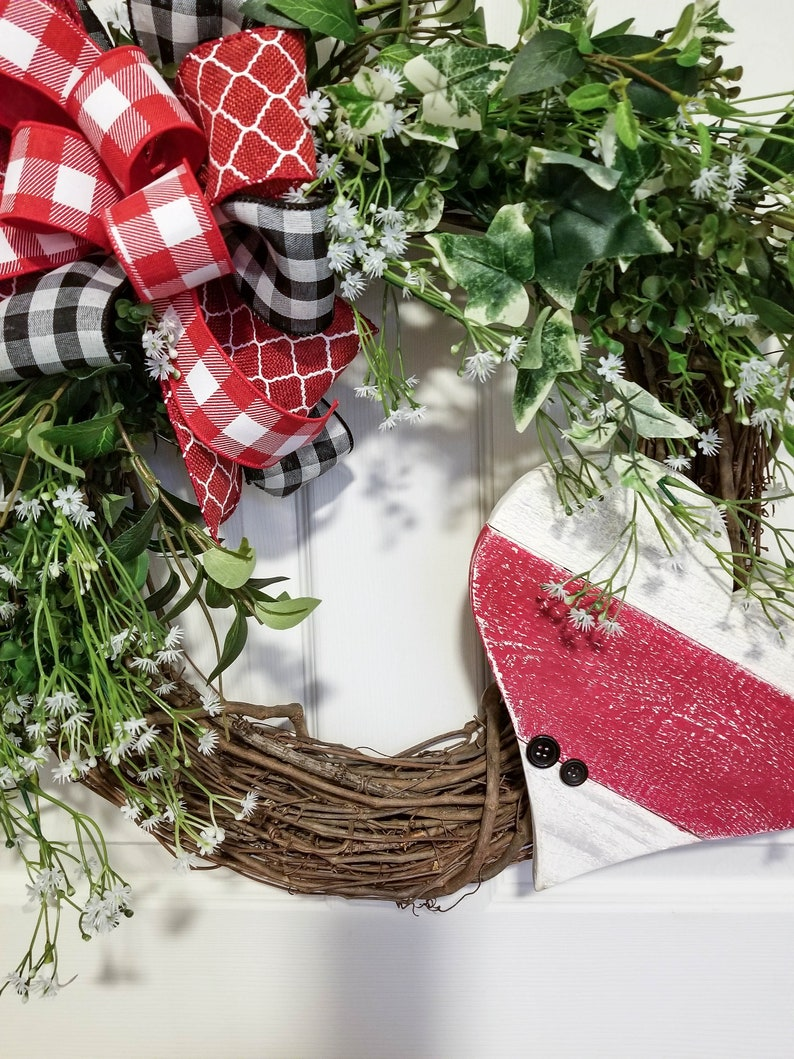 Nature Inspired Wreath Farmhouse Handmade Red and White Wood Heart Key and Button Twisted Oak Boutique Primitive Front Door Decor