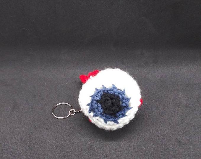 Crocheted eyeball keychain