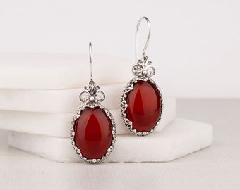 14K Gold Filled Carnelian Earrings Classy Elegant Wire Wrapped Gift for Her Unique Gemstone