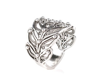 Sterling Silver Filigree Scroll Ring Size 9Wide Band RingVintage Sterling Ring For WomenSterling Filigree RingWide Filigree Ring4g
