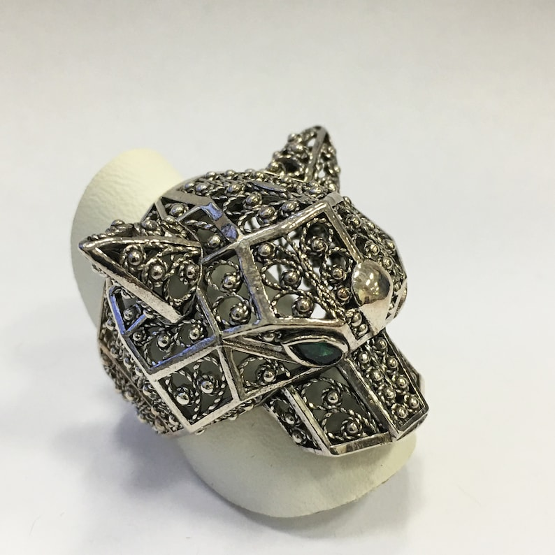 Silver Tiger Designer Ring Valentine gift boxed for her Artisan Crafted 925 Sterling Silver Filigree Tiger Ornate One of A Kind Ring