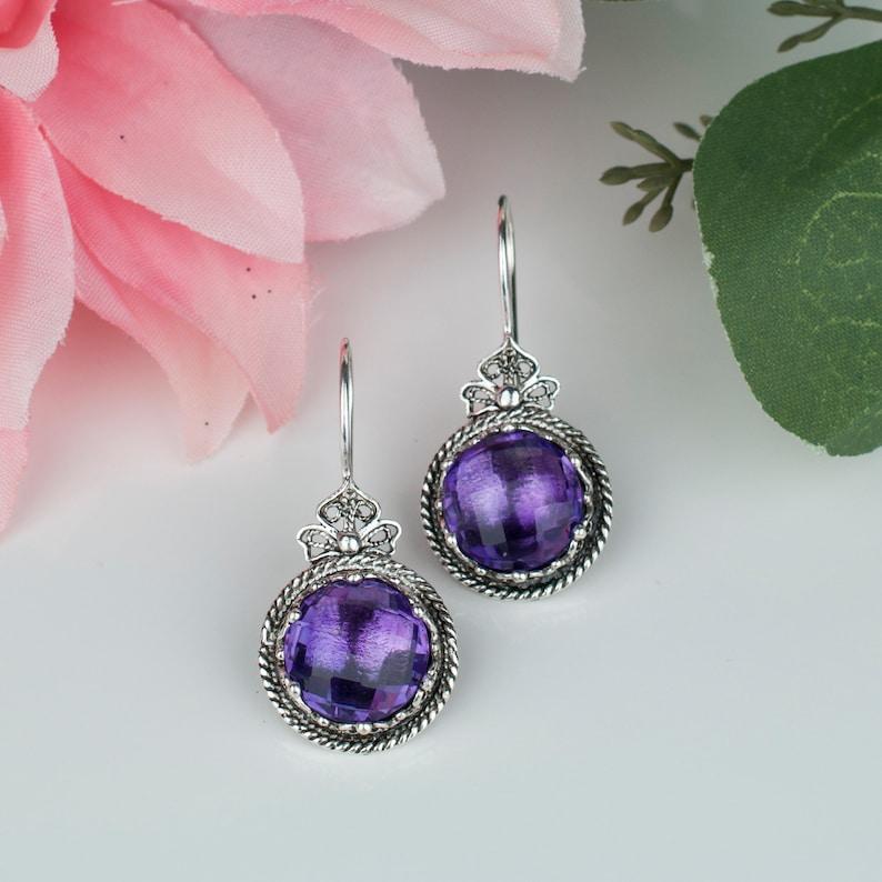 Genuine Amethyst Silver Drop Earrings,Sterling Silver 12 Carat Genuine Purple Amethyst Gemstone Artisan Crafted Filigree Earrings,Gift Boxed